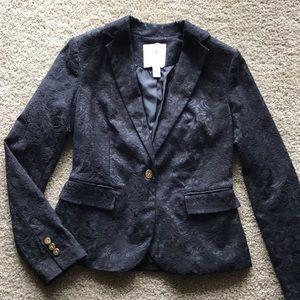 Black floral brocade blazer jacket